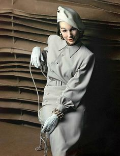 1947 Model in gray slant-buttoned suit from Hollywood late 40s unique vintage fashion style print ad jacket skirt hat
