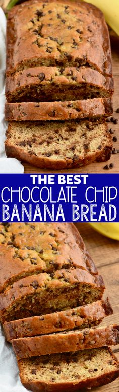 This is The Best Chocolate Chip Banana Bread! It comes together fast and will become a very requested recipe! This is The Best Chocolate Chip Banana Bread! It comes together fast and will become a very requested recipe! Banana Bread Cake, Chocolate Chip Banana Bread, Chocolate Chip Recipes, Banana Bread Recipes, Best Chocolate, Chocolate Chip Cookies, Chocolate Chips, Easy Healthy Banana Bread, Oatmeal Banana Bread