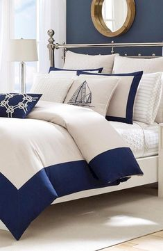 Nautical Bedroom Decorating Ideas – My Home Design 2019 Navy Master Bedroom, White Bedroom, Bedroom Décor, Master Bedrooms, Dream Bedroom, Nautical Bedding, White Bedding, Nautical Bedroom Decor, Coastal Decor