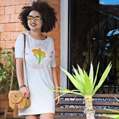 looksly da loja Maria Flor de Jaraguá com vestido estilo camiseta com estampa temática do México do Verão 2017