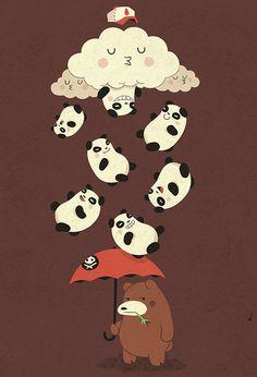 Rainy days sucks #art #illustration #cute #kawaii #panda #bear