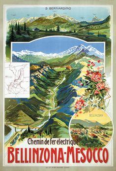Vintage Railway Travel Poster - Bellinzona-Mesocco - Switzerland.