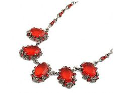 Retro Red Gem Antique Necklace