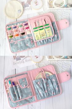 "Measures approx: closed organizer length - 10""/26 cm width - 8.3""/21 cm depth 0.79""/2cm elastic pocket for around hoop - 7.5""x6.7""/19x17cm small clear pockets of thread organizer ------------------------------------------------ The project case: - four open pockets of cross stitch tools and scissors - one pocket for around hoop - diameter till 6"" (15cm) ( closed flap) - thread organizer - 3 rows clear pockets for 12 pockets for small bobbins - needle holder and open pocket"