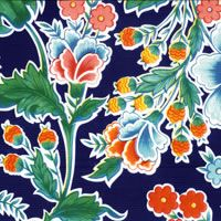 Primavera on blue background Mexican oilcloth tablecloth pattern