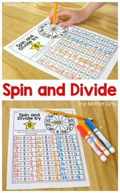 Division: Spin and Divide, such a fun math game to practice division facts in 3rd and 4th grade!