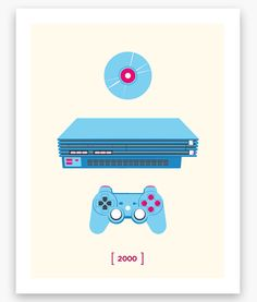 Playstation Minimalist C Series PS2 Poster 11 x 14 by Helvebula, $15.50
