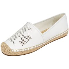 Tory Burch Perforated Logo Flat Espadrilles ($140) ❤ liked on Polyvore featuring shoes, sandals, white, platform espadrille sandals, flat espadrille sandals, leather platform sandals, flat pumps and leather sandals