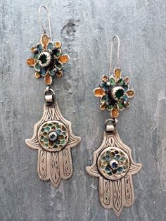 Morocco | Vintage earrings, found in a souk in southern Morocco | Silver, enamel and glass | 245$