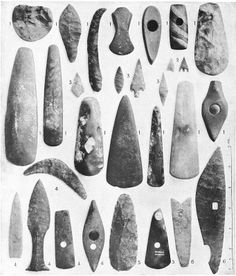 Neolithic Period: 1. Flint and stone implements, England 2. Flint arrow-heads, England.	 3. Arrow-heads, Ireland. 4. Flint and stone implements, Denmark. 5. Flint implements, France. 6. Flint implements, Egypt.