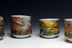 Mark Chuck- Variety Of Trout Yunomis - Porcelain, Hand Built, Fired to Cone 10 Reduction Fish Art, Conservationist, Nautical, River, Stream, Nature,Wildlife Art, Fisherman,Brown Trout, Brook Trout, Chawan,Ceramics, Cup, Pottery, Yellow, Red, Black, Orange, Green,  Blue, Beverage, Tea, Wine