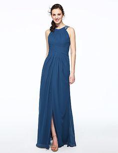 Sheath / Column Jewel Neck Floor Length Chiffon Bridesmaid Dress with Beading Pleats by LAN TING BRIDE®