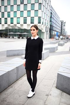 Women's Black and White Shirtdress, White Leather Brogues, Black Tights Brogues Outfit, Oxford Shoes Outfit, Tights Outfit, Autumn Fashion Work, Work Fashion, White Oxford Shoes, Stylish Work Outfits, Looks Black, Black Tights
