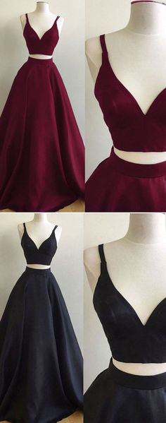 Elegant Two Piece A-Line V-Neck Sleeveless Black Long Prom/Evening Dress - 2017 two piece prom dresses,burgundy prom dresses,black prom dresses,prom dresses for teens, Source by yafit_bu - Prom Dresses Two Piece, Pretty Prom Dresses, Prom Dresses For Teens, Prom Dresses Long With Sleeves, Prom Outfits, Black Prom Dresses, Ball Dresses, Homecoming Dresses, Evening Dresses
