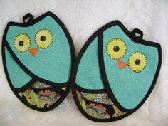 Who Owl Potholders Owl Oven Mitts Owl Hot Pads by VernieLeeDesigns, $14.99