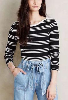 Everleigh Anthropologie New nwt Black & White Striped Cropped Shirt Top Medium M  | eBay