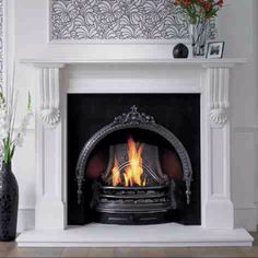 Cast iron fireplace / white mantle