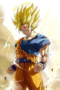 Goku Super Saiyan 2 by Dragon Ball Gt, Dragon Z, Majin, Dbz Drawings, Goku Wallpaper, Dragonball Wallpaper, Ball Drawing, Goku Super, Goku Goes Super Saiyan