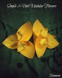 Life's Simple Pleasure: Origami Creations - Modular Flowers for Kinder Sch. Gato Origami, Origami Jewelry, Simple Flowers, Simple Pleasures, Flower Decorations, Bloom, Art Ideas, Relationships, Hobbies