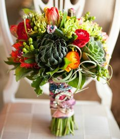 Succulent and Ranunculus bouquet (say that fast ten times!).