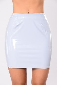 - Available In Black And Light Grey - Latex PU - Mini Skirt - 94% Polyester - 6% Spandex