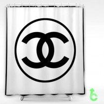 Chanel Black Logo Circle Shower Curtain