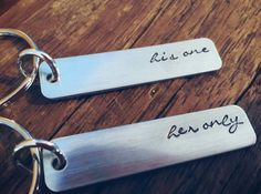 His one her only couples keychain set his by PreciousPodsBySarahO