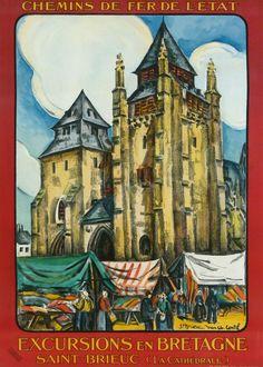 chemins de fer de l'état - excursions en Bretagne - Saint-Brieuc - 1937 - illustration de jean-Charles Contel - France -