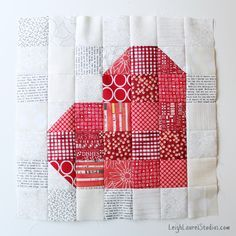 """Patchwork heart block using the Sizzix 2.5"""" square BigZ die - by Leigh Laurel Studios"""