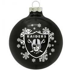 Oakland Raiders Small Painted Round Christmas Tree Ornament