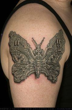 3d biomechanical butterfly tattoo ideas on shoulder - http://tattooswall.com/3d-biomechanical-butterfly-tattoo-ideas-on-shoulder.html #3d, biomech tattoos, biomechanical, butterfly, ideas, on, shoulder, tattoo
