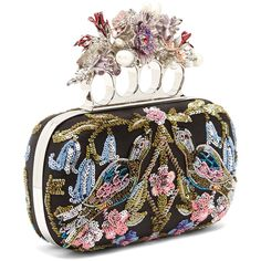 Alexander McQueen Flower-embellished satin knuckle clutch (47.669.675 IDR) ❤ liked on Polyvore featuring bags, handbags, clutches, sequin purse, satin clutches, knuckle clutches, flower handbags and beaded handbag