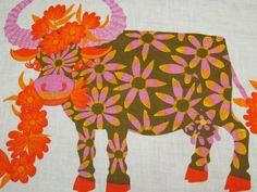 Cow tea towel for Oxfam Vintage Tea, Retro Vintage, Paper Walls, 60s Art, Towel Apron, Highland Cattle, Quirky Gifts, Vintage Fabrics, Modernism