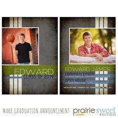 the trevor senior guy graduation announcement template for photoshop
