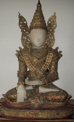 Burmese Teak wood and Alabaster Royal crowned Buddha Statue, hand gesture Bhumisparsa Mudra