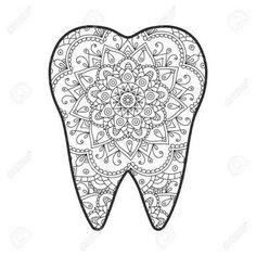 Vector illustration of a tooth with an abstract pattern mandala. Dental Hygiene School, Dental Humor, Dental Assistant, Dental Hygienist, Dental World, Dental Life, Dental Health, Dental Fun Facts, Dentist Art