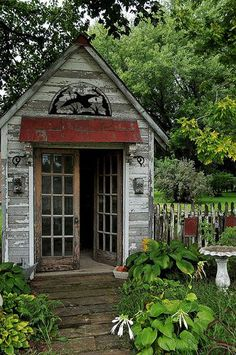Metal Hoop for outdoor decor on a charming cottage Garden Shed