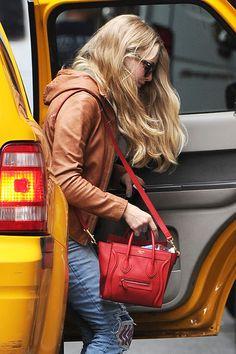 7c1366e6cf7b Amanda Seyfried departs a taxi cab with a Celine Nano Luggage tote Celine  Nano Luggage