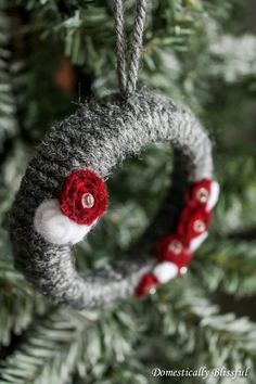 Mini Grey Wreath Christmas Ornaments - This is the one that has braided yarn wrapped around it!