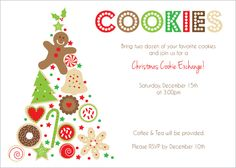 8 Best Images Of Cookie Swap Printable Invitation Template Exchange Invitations Christmas Free Templates And