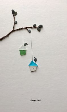 Bird house sea glass and pebble art by sharon nowlan by PebbleArt