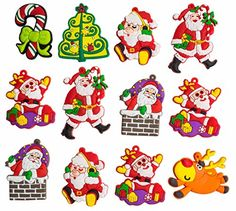A2S Christmas Characters  Decorative Silicone Magnet Christmas Figurines shutterproof 12 pieces set Assorted >>> Click image to review more details.