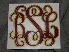 Double Layer Vinyl Monogram Decal in College Colors. $12.00, via Etsy.