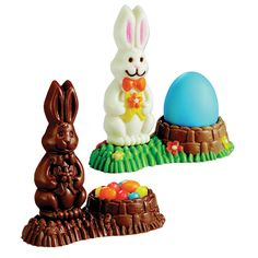 3-D Bunny Basket Candy Mold   Colorful 3-D Easter Bunny and Easter Egg lollipop molds.  1 design, 2 cavities