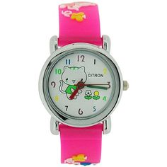 Citron Analogue Girls - Kids Kitty with Flowers Pink Silicone Strap Watch Kitty, Watches, Girls, Flowers, Pink, Rose, Wristwatches, Daughters, Kitten