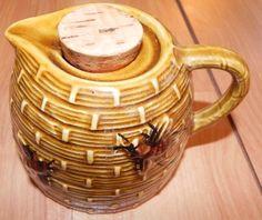 Vintage Round Honeybee Honey Pot Pouring Pitcher