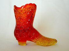 Fenton Amberina Daisy and Button Boot by JulianosCorner on Etsy,