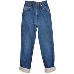 Vintage 70s WRANGLER High Waisted Boyfriend Jeans Short Leg 26 x 28 ($54) ❤ liked on Polyvore featuring jeans, denim, etsy, highwaist jeans, regular fit jeans, blue jeans, high-waisted jeans and high rise boyfriend jeans