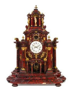 * A Dutch Gilt Bronze Mounted Tortoise Shell Veneered Clock Height 52 3/4 x width 41 1/4 x depth 17 3/4 inches.