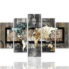 Feeby Frames, Tableau multi panneau 5 parties, Tableau imprimé xxl, Tableau imprimé sur toile, Tableau deco, Pentaptyque (CARTE DU MONDE, VINTAGE) 100x150 cm, Type A: Amazon.fr: Cuisine & Maison